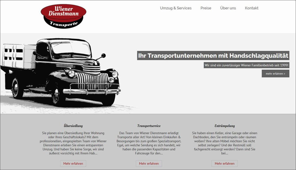 Wiener Dienstmann | POPP-UP Webdesign